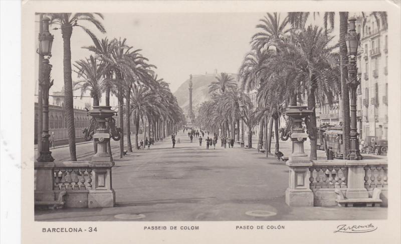 RP: BARCELONA , Spain , Paseo de Colon , 1929