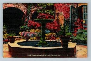 New Orleans, LA-Louisiana, Little Theatre Courtyard, Linen Postcard