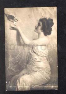 027457 Lady w/ PIGEON. Sign CORKOS. Vintage
