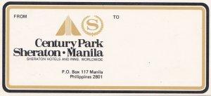 Philippines Manila Century Park Sheraton Hotel Vintage Luggage Label sk3585