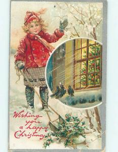 Pre-Linen christmas CUTE GIRL WITH SLED & BIRDS AT THE WINDOW HQ6998