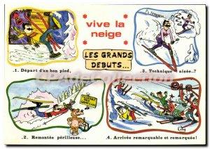 Postcard Modern bright snow ski big debut