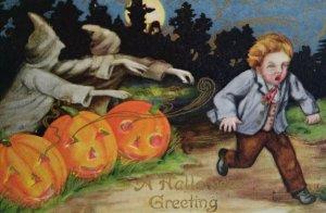 Vintage Halloween Postcard Spooky Ghosts In Pumpkin Patch Scares Boy Original