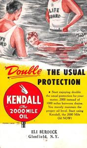 Advertising Post Card Kendall Oil Glenfield, NY USA Unused