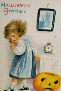 Vintage Halloween Postcard Ellen Clapsaddle Wolf Series 31 Child w/ JOL Unused