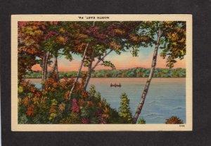 PA Canoe Pond View North East near Erie Pennsylvania Postcard Linen PC