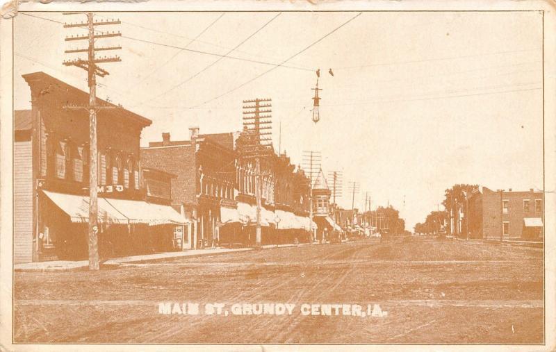 Grundy Center Iowa~Main Street~Gem Store~Hanging Light~Dirt