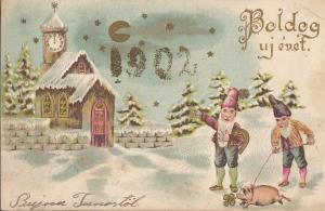 Embossed 1902 New Year greetings Hungary luck dwarfs gnomes pig clock fantasy