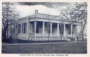 Home of William McClure, New Harmony, Indiana, Early Postcard, Unused
