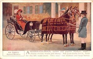 Horse Blanket Advertising Old Vintage Antique Post Card Essex Square Blanket ...