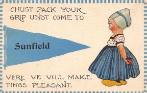 Pack Your Grip Undt Come to Sunfield Michigan~Pleasant Tings~1913 Pennant PC