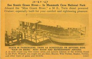 Advertising Card Miss Green River Boat Trip Mammoth Cave KY