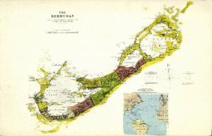 Bermuda B.W.I., Map Postcard (1910s)