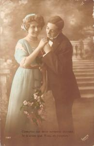 Comptez sur mon serment sincere vintage, couple, flowers bouquet 1916