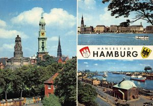 Hansestadt Hamburg Monument Statue Church Harbour Boats Postcard