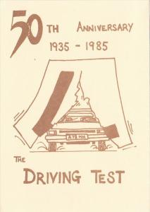 50th Anniversary 1935-1985, The Driving Test, Automobile breaking through lar...