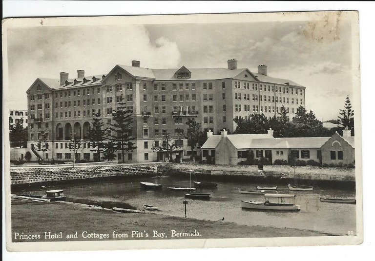 RPPC Princess Hotel and Cottages Pitt's Bay Bermuda Vintage Boats