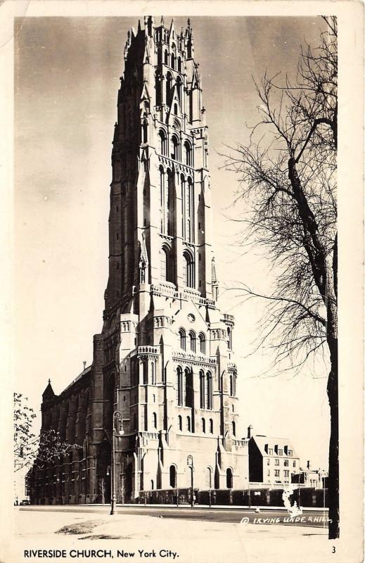 New York City~Riverside Church~Neo-Gothic Architectural Building~RPPC-Postcard