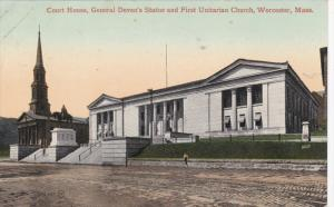 Court House, General Deven´s Statue and First Unitarian Church, WORCESTER, M...