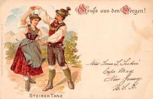 Bergen Germany Steirertanz Gruss aus Antique Postcard J72312