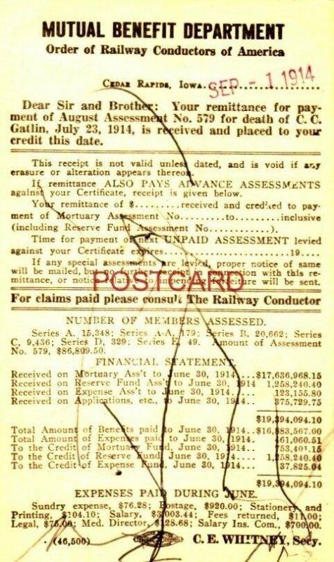 1914 BENEFIT DEPARTMENT ORDER OF RAILWAY CONDUCTORS - DEATH OF C. C. GATLIN