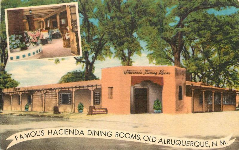 Linen Postcard; Hacienda Dining Rooms Restaurant Old Town Plaza Albuquerque NM