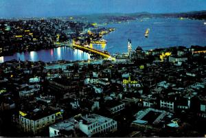 Turkey Istanbul Aerial View Of Galata Bridge Bosphorus and Scutary