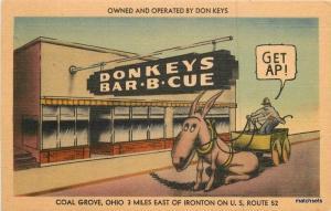 1940s Don Key Barbecue roadside Coal Grove Ohio MWM postcard 3828