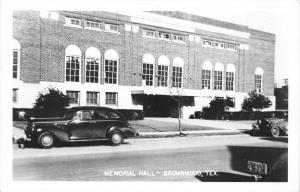 Brownwood Texas~Memorial Hall~40s Cars in Street~Kodak Finishers (Fox Co) RPPC