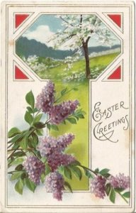 Purple Lilacs & White Apple Blossoms Springtime EASTER Greeting Vintage Postcard