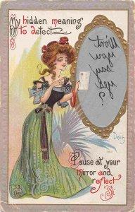 Hidden Meaning Woman Mirror Secret Message Novelty Dwig artist signed postcard