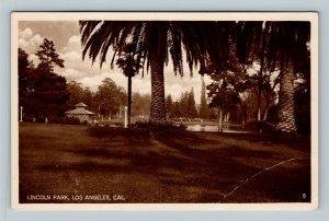 Los Angeles CA, Lincoln Park, Scenic View, RPPC California Postcard