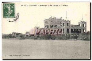 Old Postcard La Cote D & # 39Argent Hendaye Casino And Beach