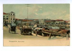 147140 SINGAPORE Boat Quay Vintage undivided back postcard