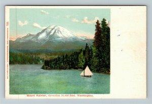 Mount Rainier WA-Washington, Scenic Lake View, Sailboat, Vintage Postcard