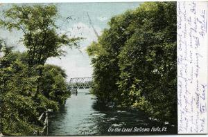 On The Canal, Bellows Falls, VT Vermont - pm 1907 - UDB