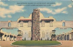 St Joseph Michigan~Grande Vista Motor Court~Main Entrance Arches~1940s Postcard
