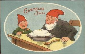 Danish Christmas Gnomes Elves Porridge Food c1910 Postcard EXC COND
