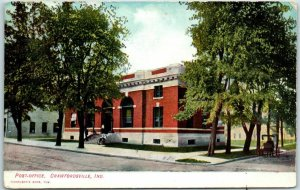 Crawfordsville, Indiana Postcard POST-OFFICE Building Street View 1908 Cancel