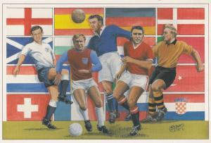 Bobby Moore Dixie Dean Duncan Ferguson Billy Wright Football Painting Postcard