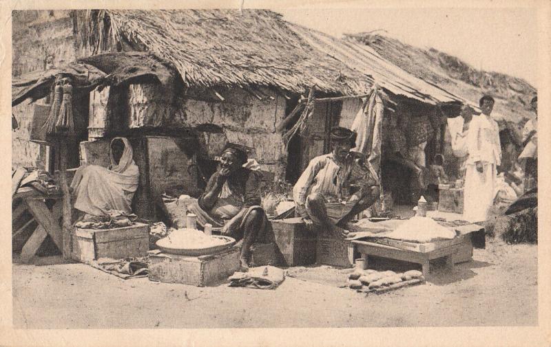Italian Somalia ethnic types Mogadishu native street sellers commerce postcard