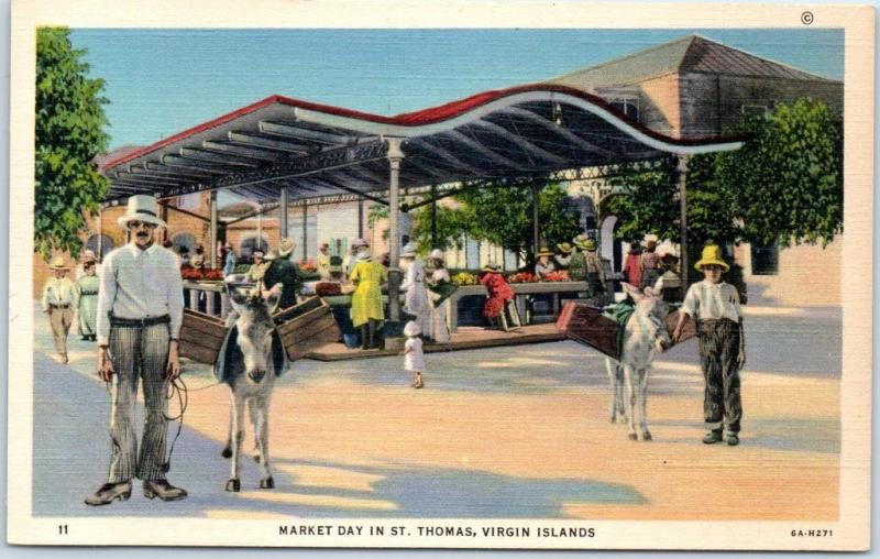 1940s ST THOMAS Virgin Islands Postcard MARKET DAY Street Scene Curteich Linen