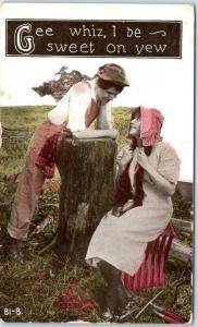 Comic Romance Postcard Gee Whiz I Be Sweet on Yew Hillbilly 1914 Cancel