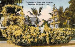 Pasadena California~Rose Parade: Bankers Float, A Big Sailboat Postcard c1910