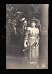 016512 Young Lovers BELLE & Nice HORSE Vintage PHOTO PC