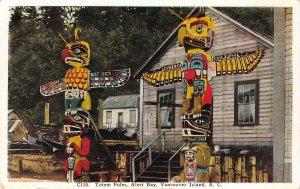 Native American Totem Poles, Alert Bay, Vancouver Island c1920s Vintage Postcard