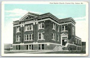 Festus Missouri~Crystal City~First Baptist Church~1920s Bluesky Postcard