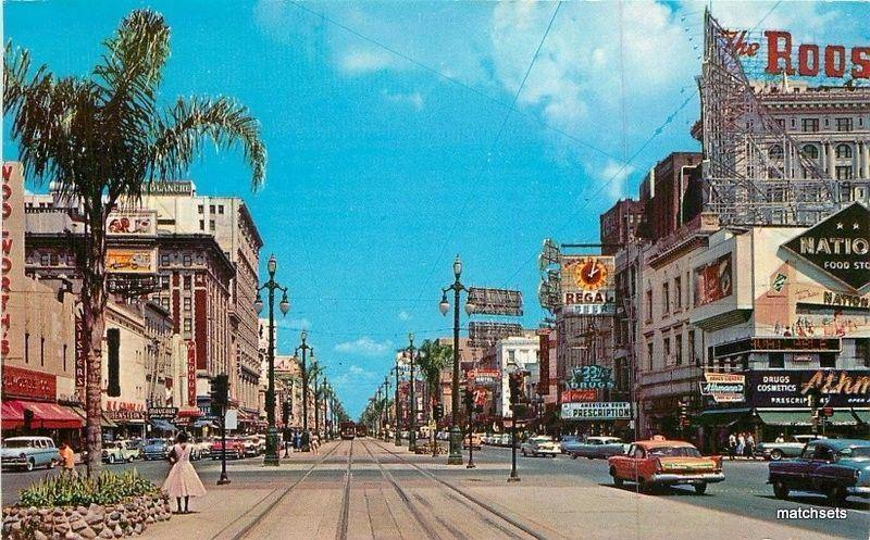 1950s Famous Canal Street New Orleans Louisiana Teich postcard 3842