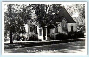 RPPC  CENTRAL LAKE, Michigan MI ~ METHODIST CHURCH Antrim County 1940s Postcard
