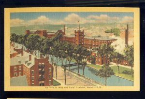 Lewiston, Maine/ME Postcard, Air View Of Mills & Canal